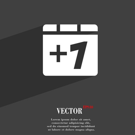 Plus one, Add one  icon symbol Flat modern web design with long shadow and space for your text. Vector illustration