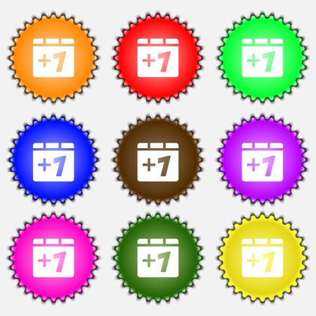 append: Plus one, Add one  icon sign. A set of nine different colored labels. Vector illustration