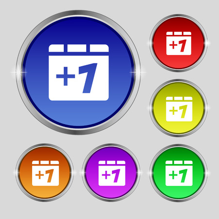 append: Plus one, Add one icon sign. Round symbol on bright colourful buttons. Vector illustration