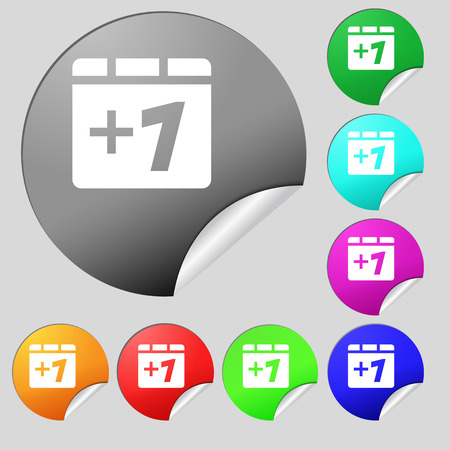 append: Plus one, Add one  icon sign. Set of eight multi-colored round buttons, stickers. Vector illustration