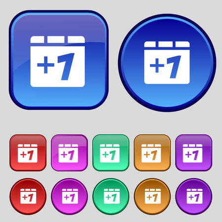 append: Plus one, Add one icon sign. A set of twelve vintage buttons for your design. Vector illustration