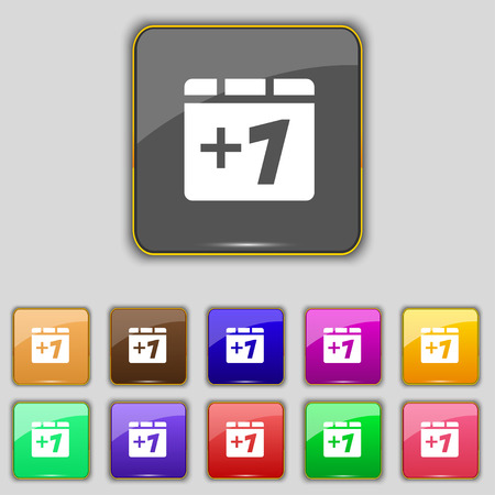 append: Plus one, Add one icon sign. Set with eleven colored buttons for your site. Vector illustration Illustration