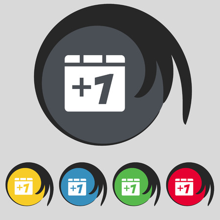 append: Plus one, Add one icon sign. Symbol on five colored buttons. Vector illustration
