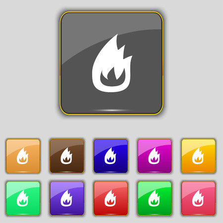 eleven: Fire flame icon sign. Set with eleven colored buttons for your site. Vector illustration Illustration