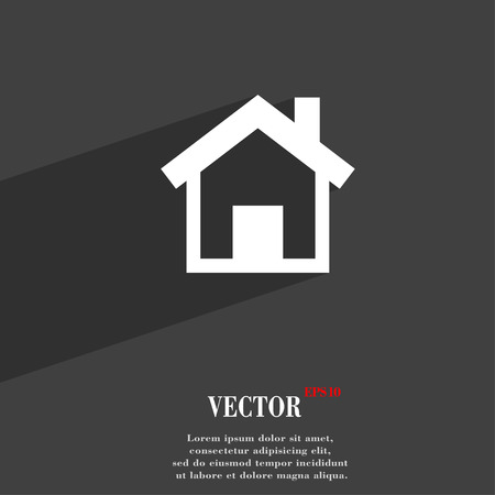 main: Home, Main page  icon symbol Flat modern web design with long shadow and space for your text. Vector illustration