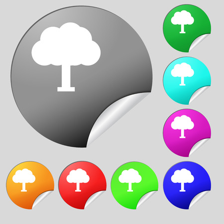 coma: Tree, Forest  icon sign. Set of eight multi-colored round buttons, stickers. Vector illustration