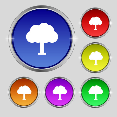 coma: Tree, Forest icon sign. Round symbol on bright colourful buttons. Vector illustration Illustration
