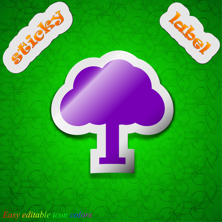 coma: Tree, Forest  icon sign. Symbol chic colored sticky label on green background. Vector illustration