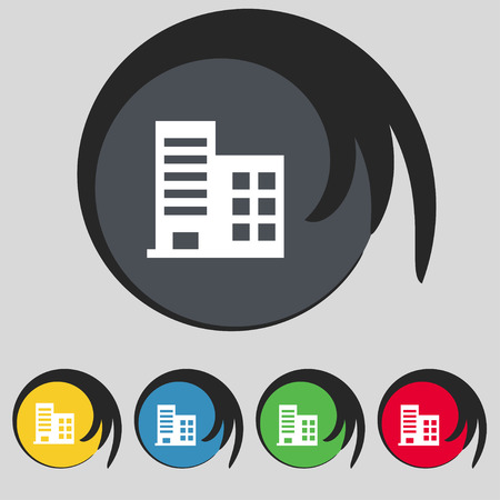 multistorey: high-rise commercial buildings and residential apartments icon sign. Symbol on five colored buttons. Vector illustration