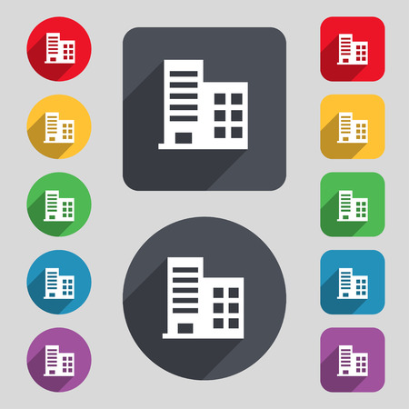 architectural styles: high-rise commercial buildings and residential apartments icon sign. A set of 12 colored buttons and a long shadow. Flat design. Vector illustration