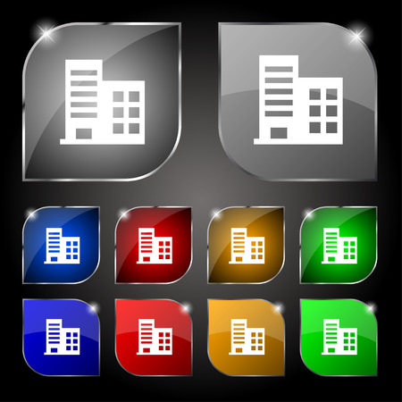 architectural styles: high-rise commercial buildings and residential apartments icon sign. Set of ten colorful buttons with glare. Vector illustration