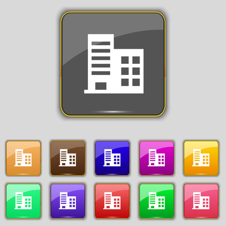 architectural styles: high-rise commercial buildings and residential apartments icon sign. Set with eleven colored buttons for your site. Vector illustration