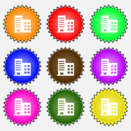 highrise: high-rise commercial buildings and residential apartments  icon sign. A set of nine different colored labels. Vector illustration Illustration