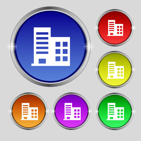architectural styles: high-rise commercial buildings and residential apartments icon sign. Round symbol on bright colourful buttons. Vector illustration