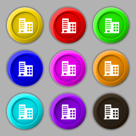 multistorey: high-rise commercial buildings and residential apartments icon sign. symbol on nine round colourful buttons. Vector illustration
