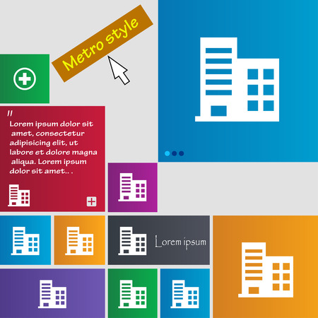 architectural styles: high-rise commercial buildings and residential apartments icon sign. Metro style buttons. Modern interface website buttons with cursor pointer. Vector illustration