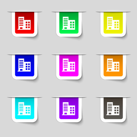 architectural styles: high-rise commercial buildings and residential apartments icon sign. Set of multicolored modern labels for your design. Vector illustration