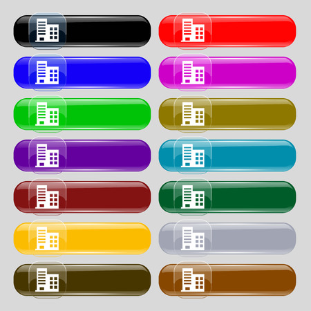highrise: high-rise commercial buildings and residential apartments  icon sign. Set from fourteen multi-colored glass buttons with place for text. Vector illustration