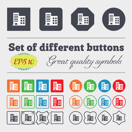 architectural styles: high-rise commercial buildings and residential apartments  icon sign Big set of colorful, diverse, high-quality buttons. Vector illustration