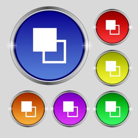 photoshop: Active color toolbar icon sign. Round symbol on bright colourful buttons. Vector illustration