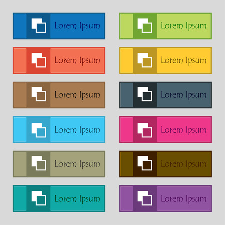 Active color toolbar  icon sign. Set of twelve rectangular, colorful, beautiful, high-quality buttons for the site. Vector illustration
