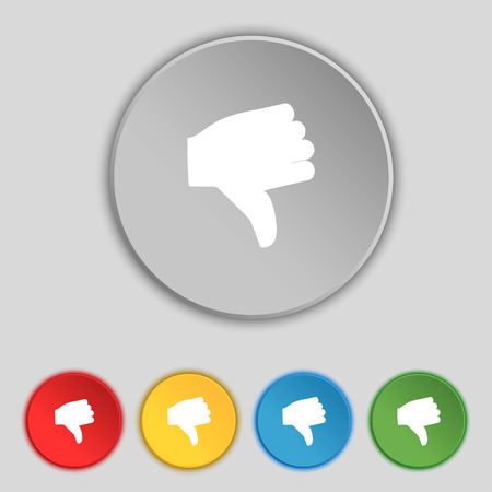 thumb down icon: Dislike, Thumb down icon sign. Symbol on five flat buttons. Vector illustration