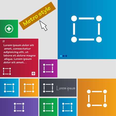 registration mark: Crops and Registration Marks icon sign. Metro style buttons. Modern interface website buttons with cursor pointer. Vector illustration