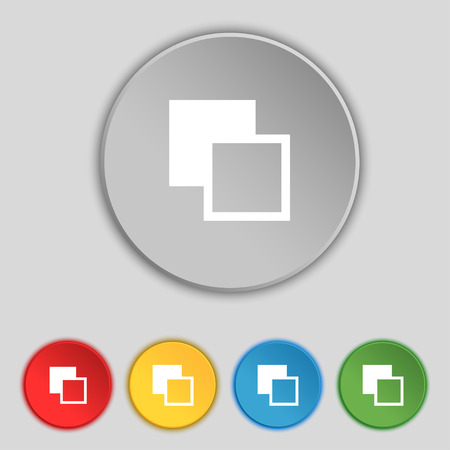 toolbar: Active color toolbar icon sign. Symbol on five flat buttons. Vector illustration Illustration
