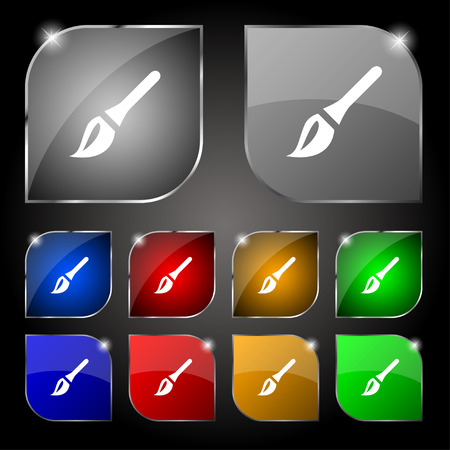painter decorator: Paint brush, Artist icon sign. Set of ten colorful buttons with glare. Vector illustration
