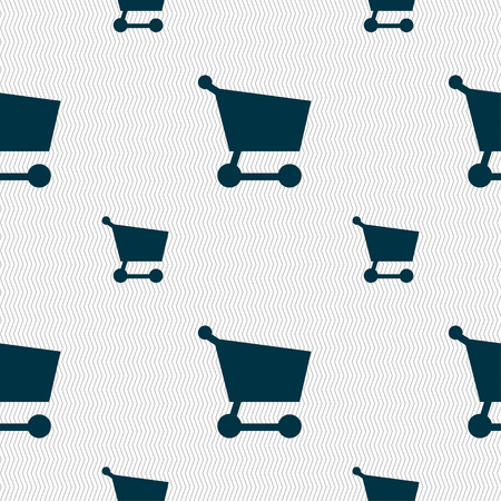 Shopping basket icon sign. Seamless pattern with geometric texture. Vector illustration Vector
