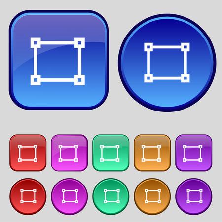 registration mark: Crops and Registration Marks icon sign. A set of twelve vintage buttons for your design. Vector illustration
