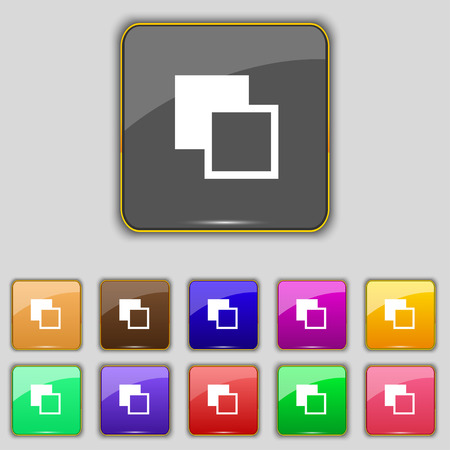 Active color toolbar icon sign. Set with eleven colored buttons for your site. Vector illustration