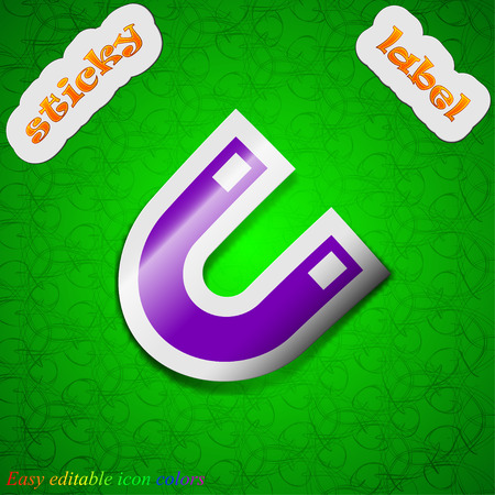 electromagnetic field: magnet, horseshoe  icon sign. Symbol chic colored sticky label on green background. Vector illustration Illustration