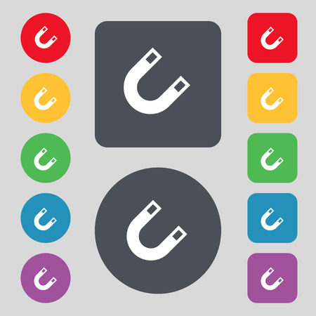 electromagnetic field: magnet, horseshoe icon sign. A set of 12 colored buttons. Flat design. Vector illustration Illustration
