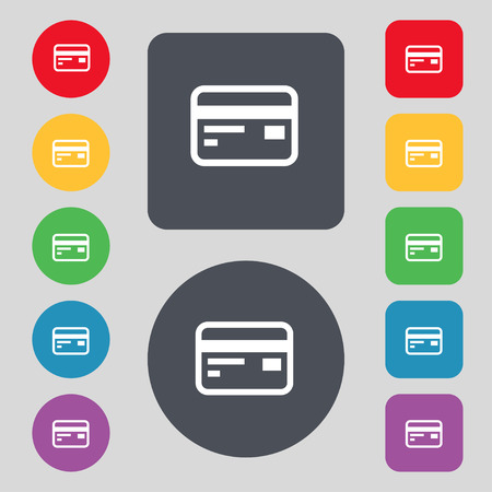 debit: Credit, debit card icon sign. A set of 12 colored buttons. Flat design. Vector illustration