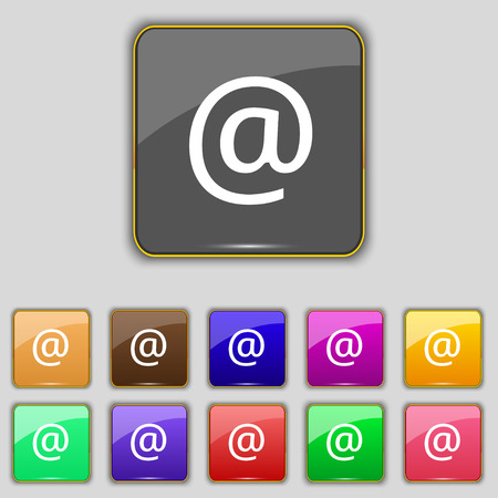 media distribution: E-Mail icon sign. Set with eleven colored buttons for your site. Vector illustration Illustration