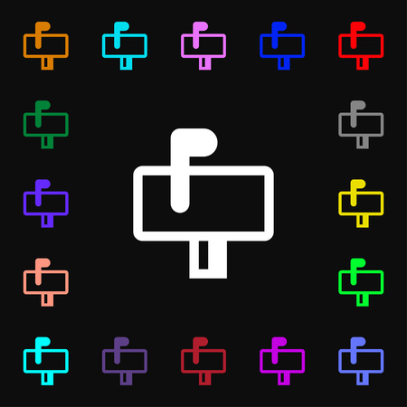 media distribution: Mailbox  icon sign. Lots of colorful symbols for your design. Vector illustration Illustration