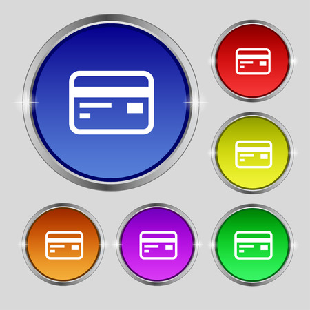 debit: Credit, debit card icon sign. Round symbol on bright colourful buttons. Vector illustration