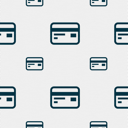 debit: Credit, debit card icon sign. Seamless pattern with geometric texture. Vector illustration