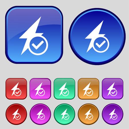 media distribution: Mailbox icon sign. A set of twelve vintage buttons for your design. Vector illustration