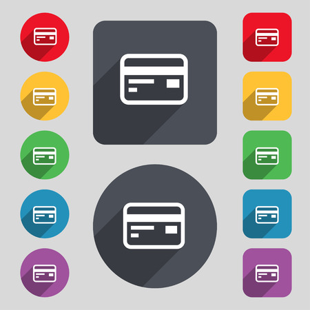 cashless payment: Credit, debit card icon sign. A set of 12 colored buttons and a long shadow. Flat design. Vector illustration
