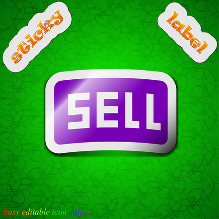 earnings: Sell, Contributor earnings  icon sign. Symbol chic colored sticky label on green background. Vector illustration Illustration