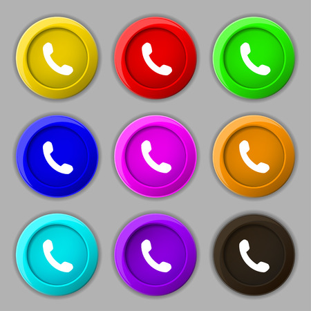 phone support: Phone, Support, Call center icon sign. symbol on nine round colourful buttons. Vector illustration Illustration