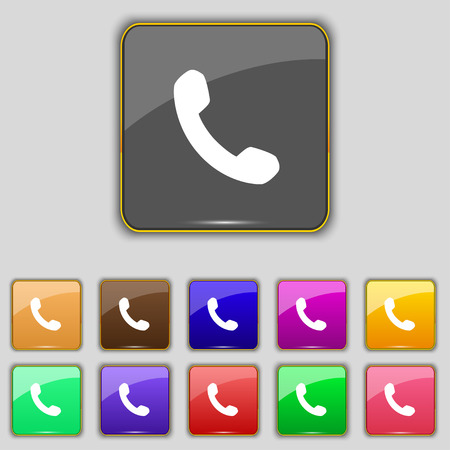 phone call: Phone, Support, Call center icon sign. Set with eleven colored buttons for your site. Vector illustration Illustration
