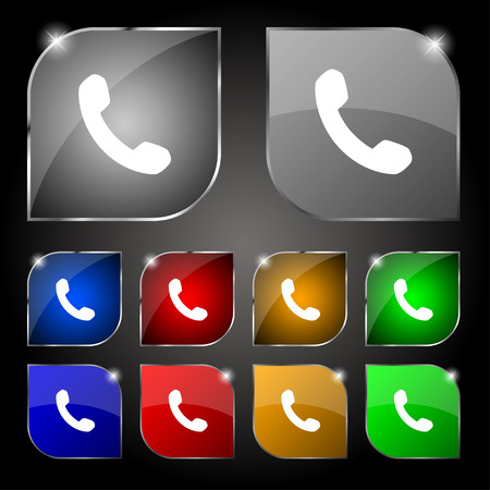 phone support: Phone, Support, Call center icon sign. Set of ten colorful buttons with glare. Vector illustration