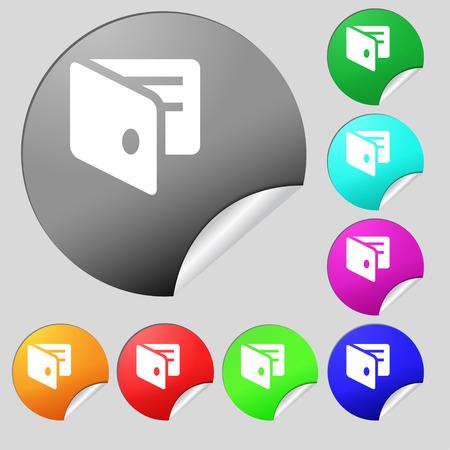 business card holder: eWallet, monedero electr�nico, tarjeta de visita icono Holder signo. Conjunto de ocho multicolores ronda botones, pegatinas. Ilustraci�n vectorial