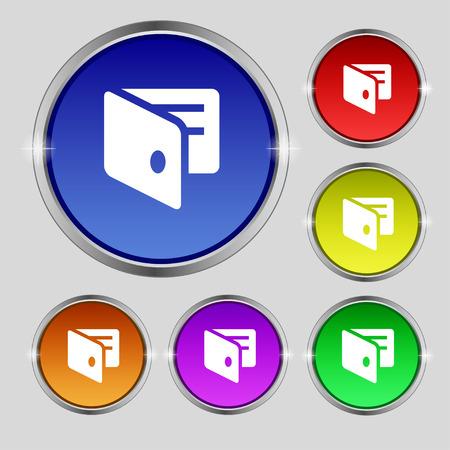 business card holder: eWallet, monedero electr�nico, tarjeta de visita icono Holder signo. S�mbolo de Ronda en los botones de colores brillantes. Ilustraci�n vectorial