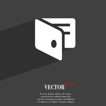 business card holder: eWallet, monedero electr�nico, tarjeta de visita del sostenedor s�mbolo del icono de dise�o web moderno plana con una larga sombra y el espacio para el texto. Ilustraci�n vectorial