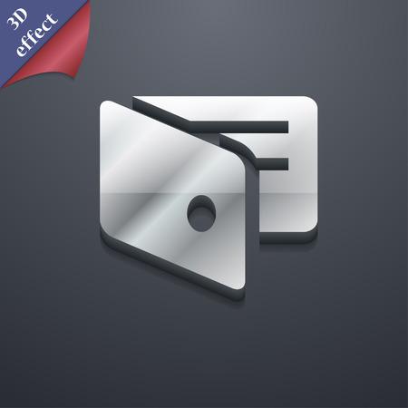 business card holder: eWallet, monedero electr�nico, tarjeta de visita icono Holder s�mbolo. Plantillas en 3D. Dise�o de moda, moderno, con espacio para el texto Ilustraci�n vectorial