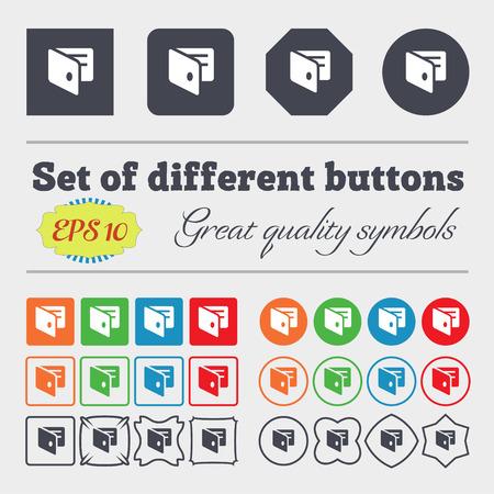 business card holder: eWallet, monedero electr�nico, icono de negocios titular de la tarjeta firmar Gran conjunto de coloridos botones diversos, y de alta calidad. Ilustraci�n vectorial